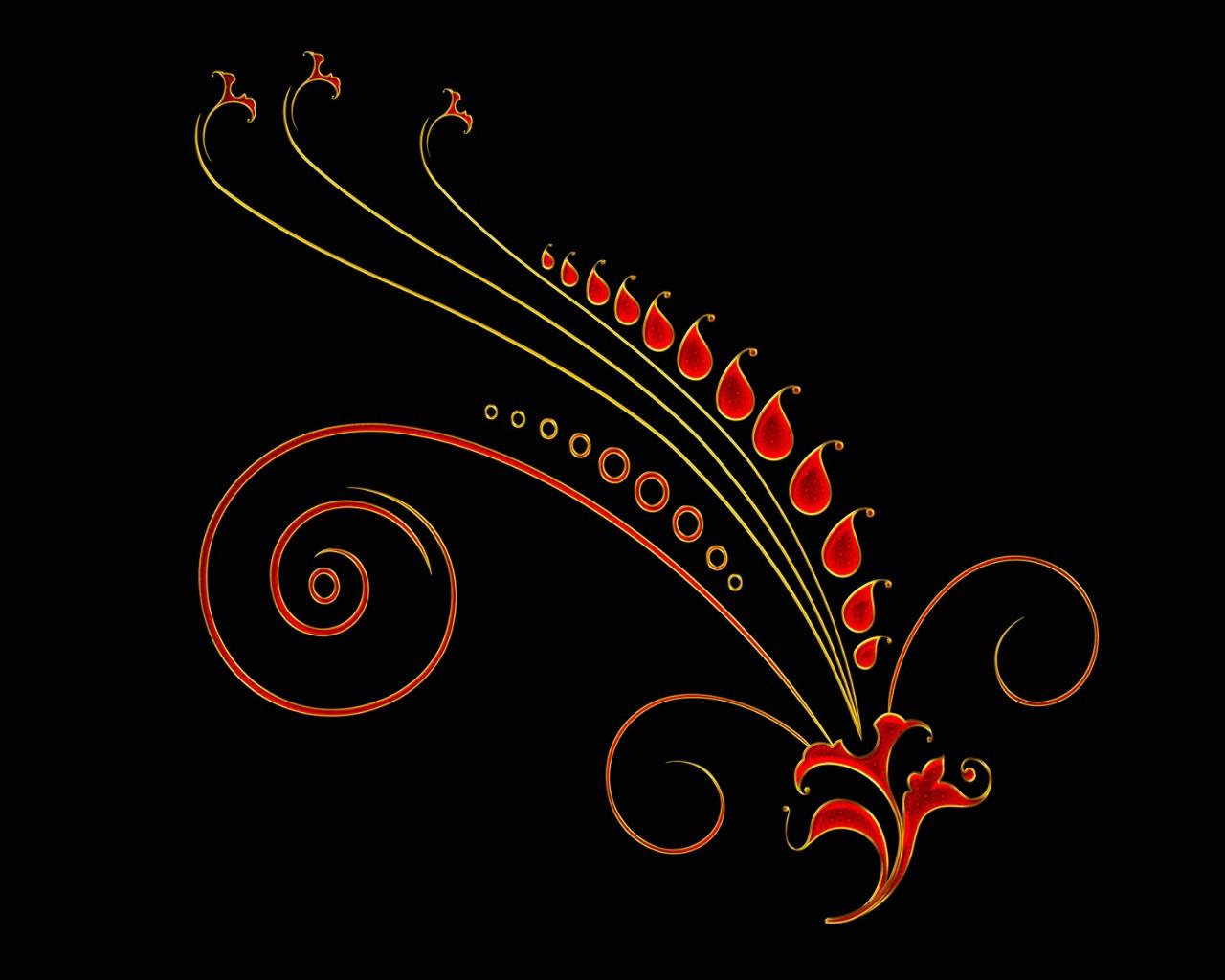 黑底炫彩花纹壁纸壁纸图片-创意壁纸-创意图片素材