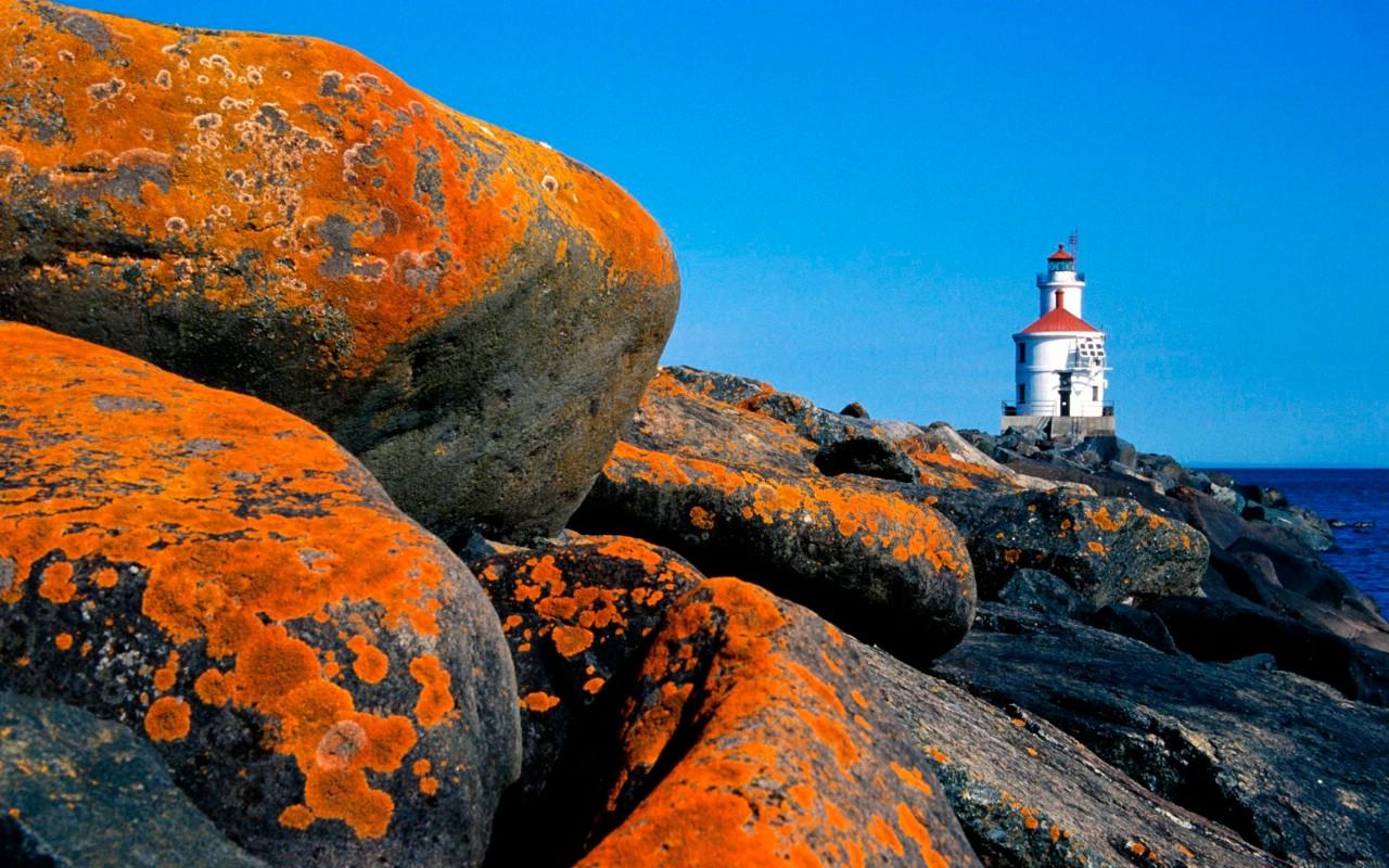 海岸灯塔 高清风光壁纸