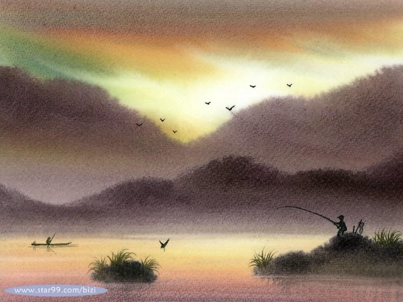 600水彩意境 写意水彩风格山水壁纸壁纸,水彩意境 写意水彩风格山