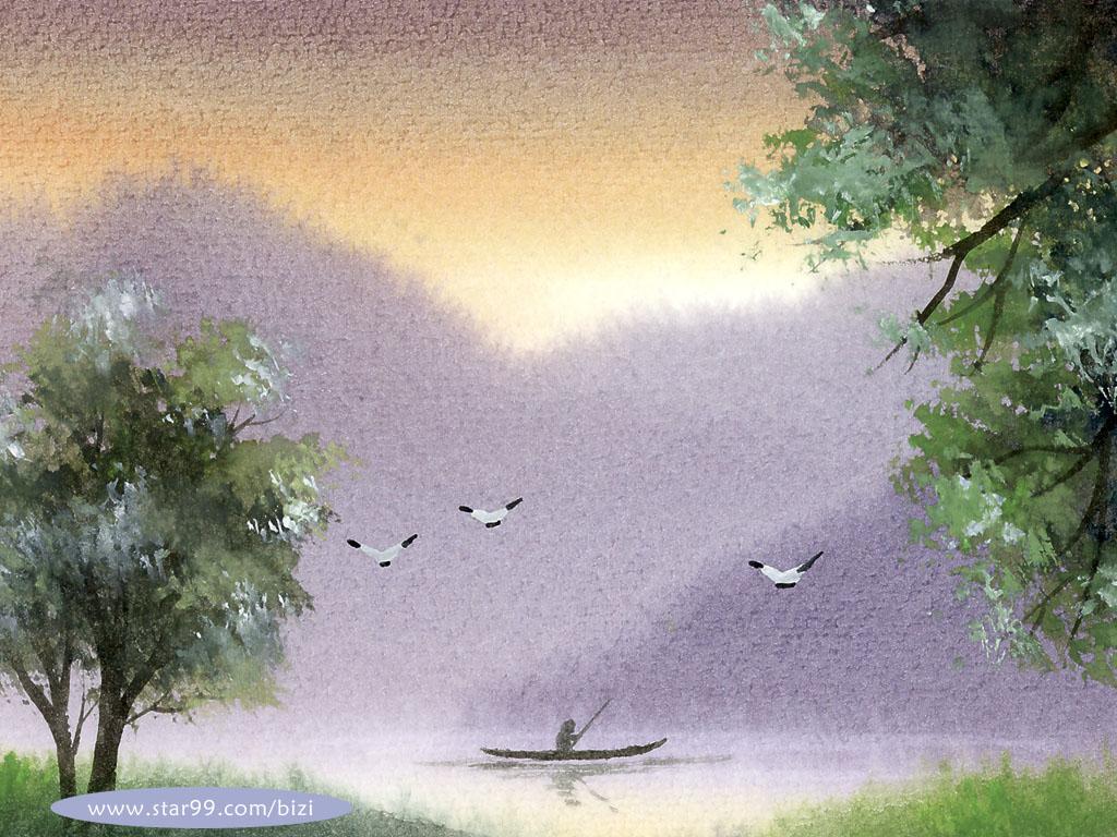 768水彩意境 写意水彩风格山水壁纸壁纸,水彩意境 写意水彩风格山