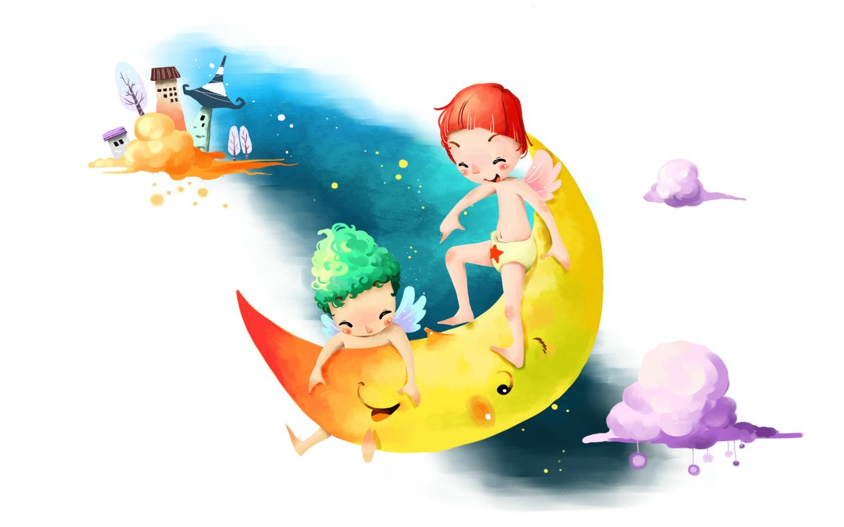 童年的欢乐吹泡泡唯美风景桌面壁纸-高清:童年回忆!